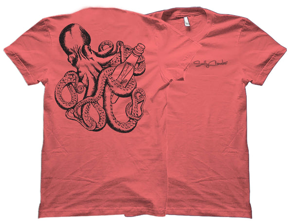 Octopus - Message In the Bottle(black Ink) - Salty Cracker Shirt