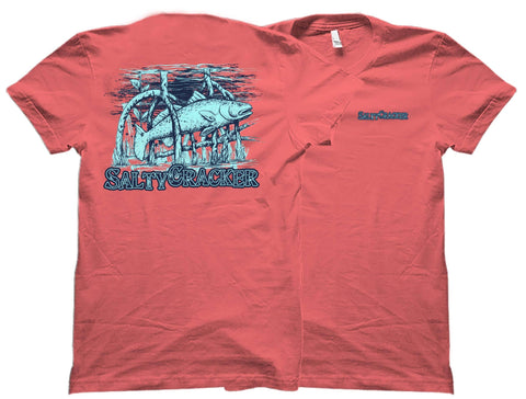 Mangrove Redfish Salty Cracker Saltwater Fishing Shirt