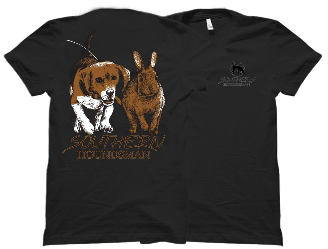 Front and back view of the black Southern Houndsman outdoorsman shirt from Swamp Cracker Outdoor apparel with the Southern Houndsman logo on the front top corner and a beagle chasing a rabbit on the back.