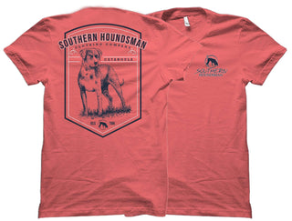 Front and back of the coral Catahoula shirt from Swamp Cracker Outdoor Apparel. The back has an image of a Catahoula breed dog and the front has the Southern Houndsman logo in the top corner.