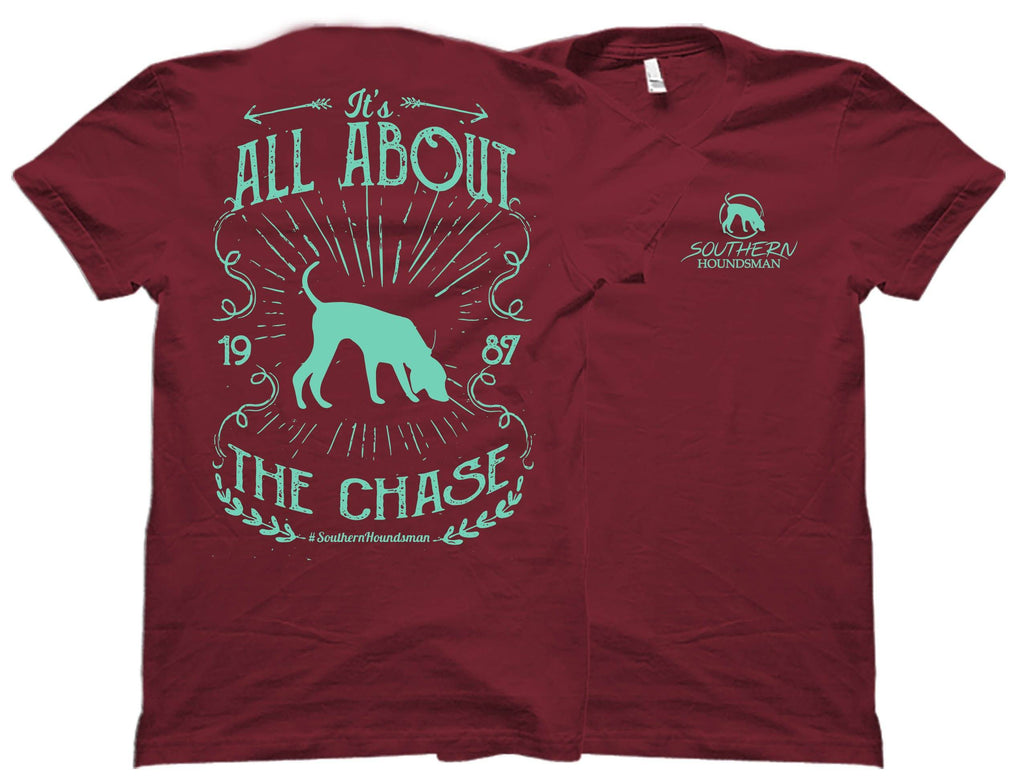 It's All About The Chase Seafoam Green Southern Houndsman T-Shirt