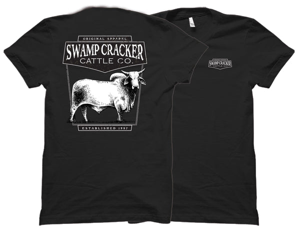 Brahman Bull Swamp Cracker Cattle Co. tee shirts in black with a bull on the back and the Swamp Cracker Cattle Co. logo on the front from Swamp Cracker Outdoor Apparel.