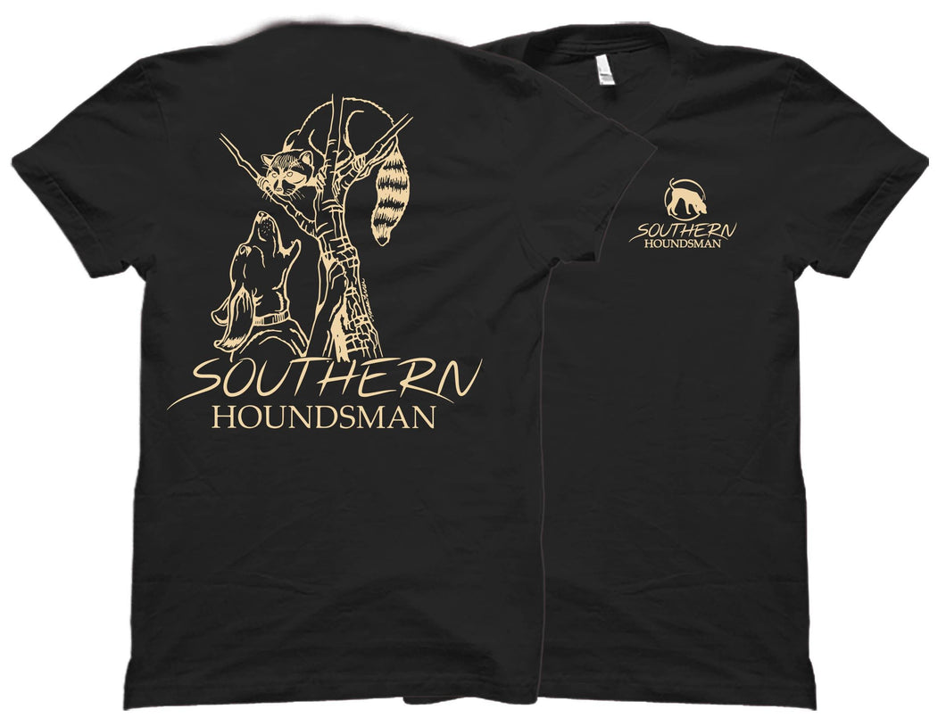 Front and back of the Southern Houndsman black outdoor shirt with a racoon chased up a tree by a dog on the back.