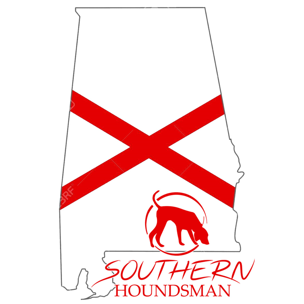Sticker in the shape of Alabama in white with a red X in the middle and the Southern Houndsman logo in the bottom right corner.