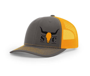 Front view of the neon and charcoal Swamp Cracker Cattle Co. Snapback outdoorsman hat with their logo on the front.