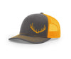 Charcoal and neon orange mesh trucker hat from Swamp Cracker Outdoor Apparel with an elk rack on the front of the hat.