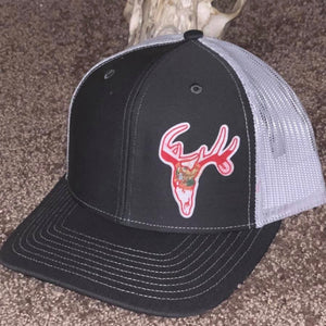 Florida Deer Skull Swamp Cracker Hat Charcoal White