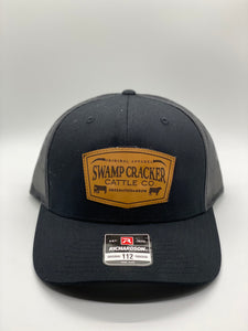 Swamp Cracker Cattle Co Breed Feed Grow Leather Patch Snapback Hat