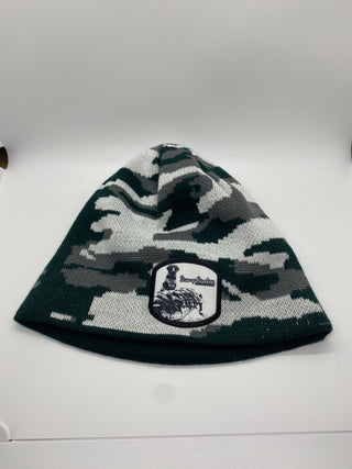 Side view of the black and white camo Duck Duck Goose beanie outdoor apparel at Swamp Cracker Outdoor Apparel.