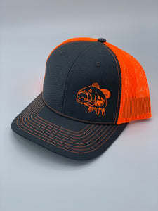 Charcoal/Neon Orange trucker snapback hat with an image of a bass printed on the front from Swamp Cracker Outdoor Apparel.