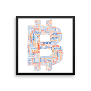 Bitcoin Word Cloud Framed Poster