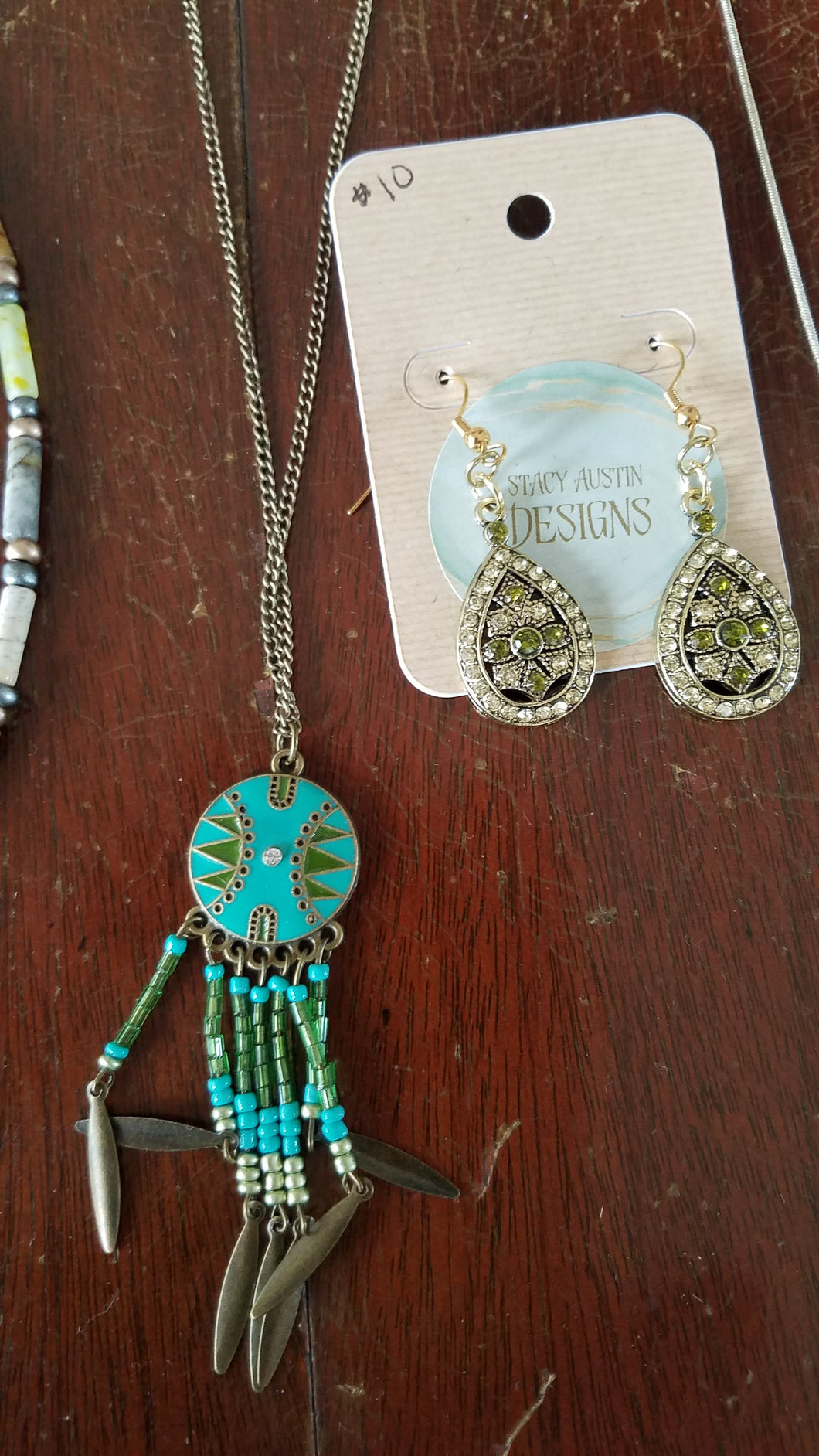Southwestern dream catcher necklace in gold and turquoise