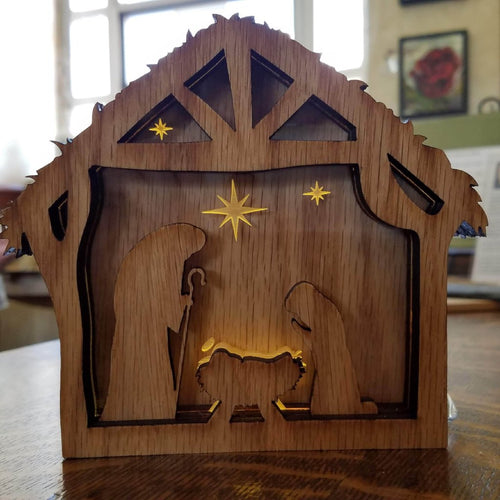 Lighted Oak Wood Nativity Scene