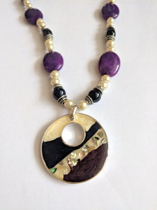 Purple and Pearl Pendant Necklace