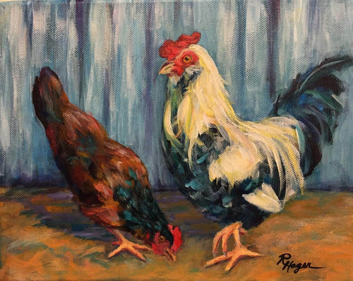 Barney and Blanchey - framed chicken print, limited edition
