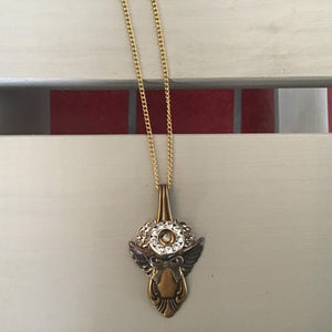 Gold and rose angel with silver accents necklace