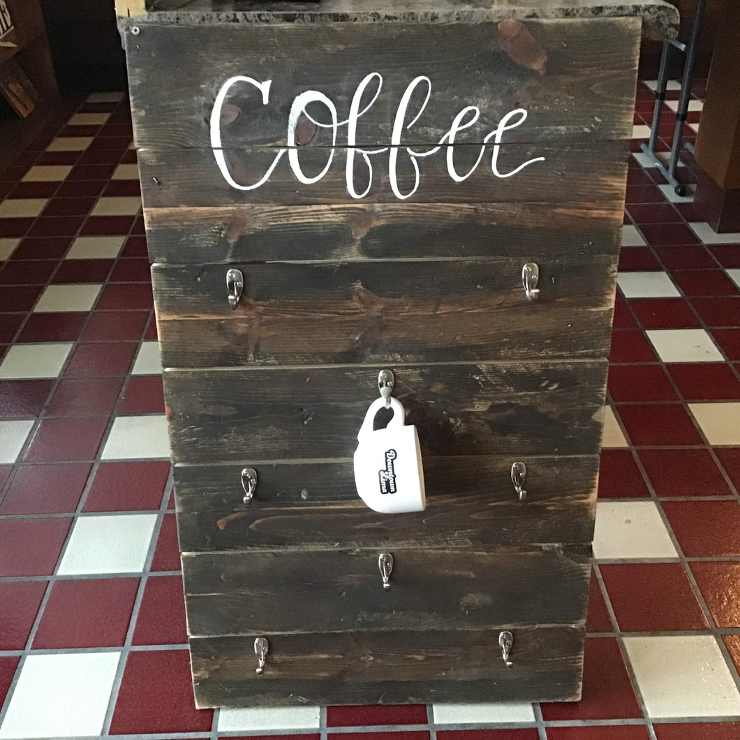 Large Wooden Coffee Mug Wall Hanging