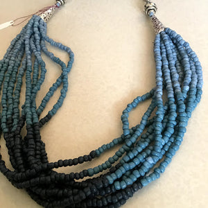 Blue Multi-strand Necklace with Silver