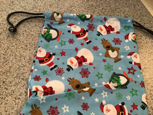 Snowman drawstring fabric bags for holiday and Christmas