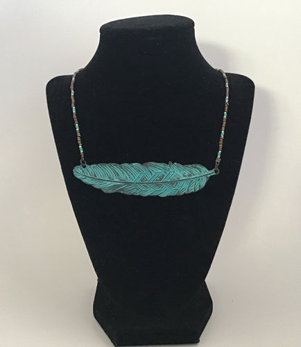 Teal Aztec feather necklace with beaded chain