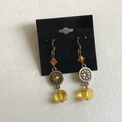 Yellow flower dangle earring