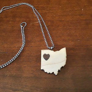 "Two tone wood, maple and walnut ""heart of Ohio"" wooden pendant on chain, light with dark heart"
