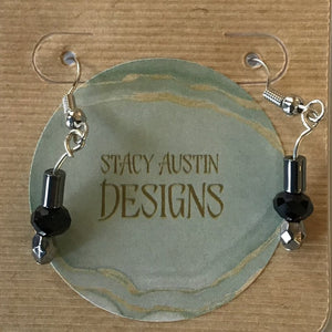 Silver and Black Mini Dangle Earrings