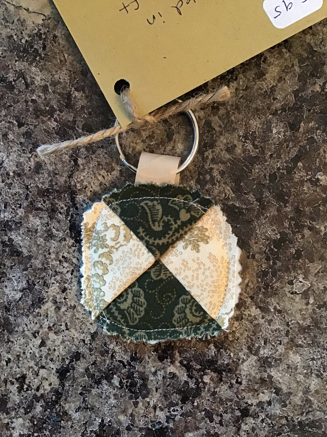 Green and White Quilt Keychain