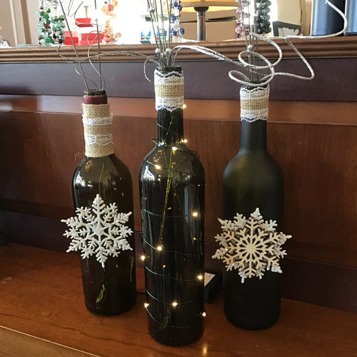 Light up wine bottle holiday display