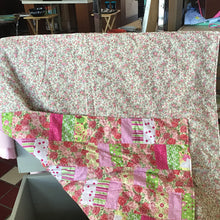 Large handmade baby quilt, pink quilted blanket for girl