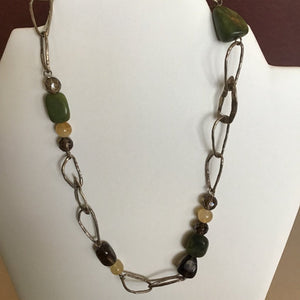 Asymmetrical Chain linked Necklace with Green and Brown Beads