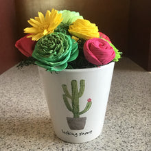 "Ceramic Wooden Flower Centerpiece - ""looking sharp"" cactus"