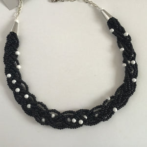 Black and white hand beaded choker style necklace