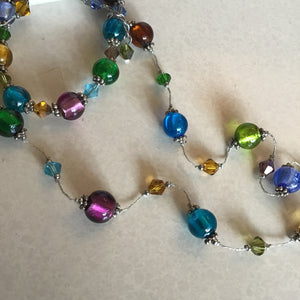 Multi-color beaded necklace, bracelet, and earrings set