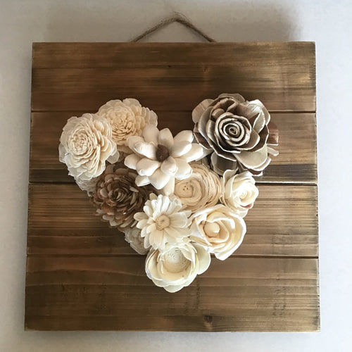 Wedding Wooden Heart on a Square