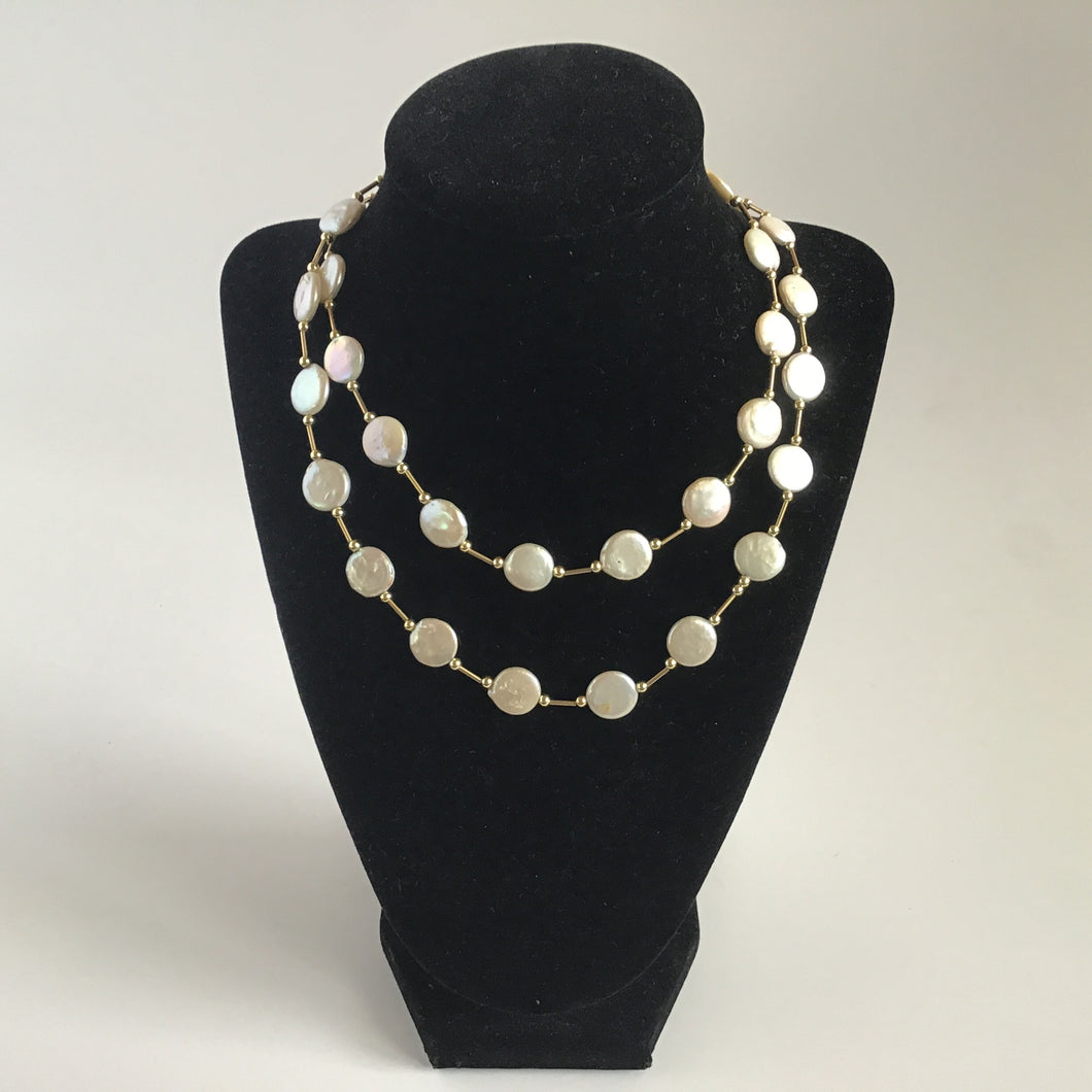 Long River Cultured Necklace with Fresh Water Pearls (white and gold)