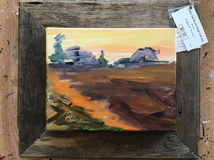 Ohio Farm on Deep Cut Rd original painting framed in barnwood from Auglaize County