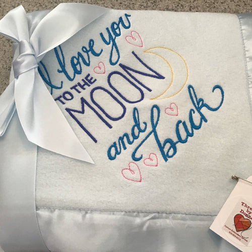 I Love You To The Moon And Back baby blue satin lined fleece blanket