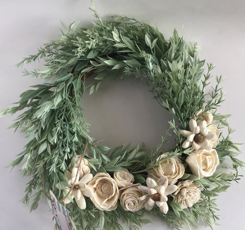Spring wreath with wood flowers
