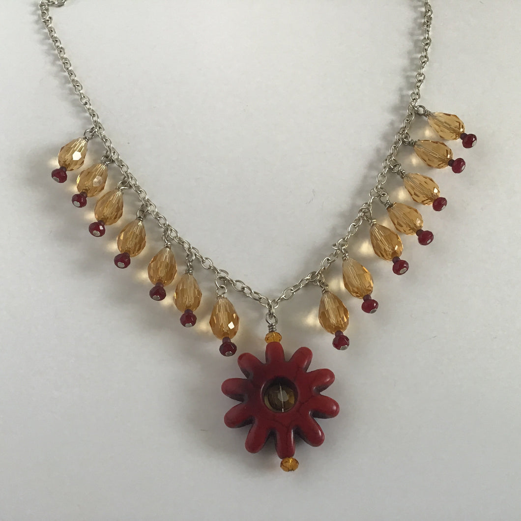 Red Flower and Orange Beaded Necklace