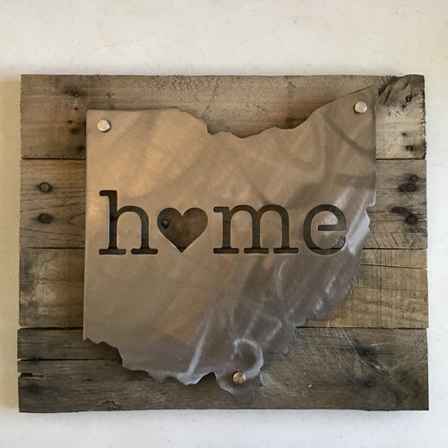 Ohio Home Sign, Metal on Rustic Wood