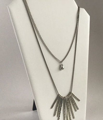 Double length silver necklace with bead and hammered metal