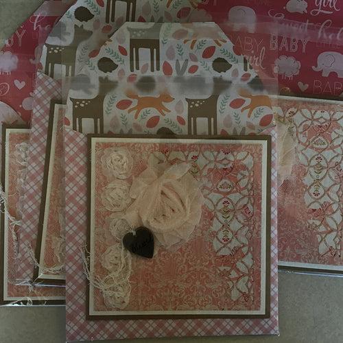 Paper & Lace by Deb Welcome Baby Girl handmade card