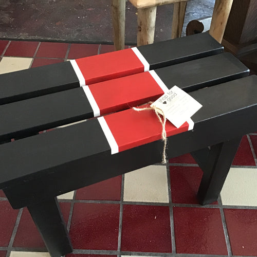 Black Wood Bench with red and white highlights, 24 inches