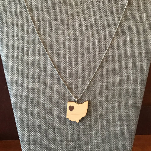 "Maple and walnut ""heart of Ohio"" wooden pendant necklace on chain, light with dark heart"