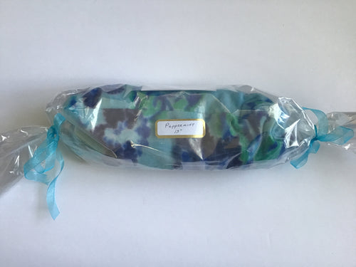 Handmade microwaveable hot pack in blue and green flannel