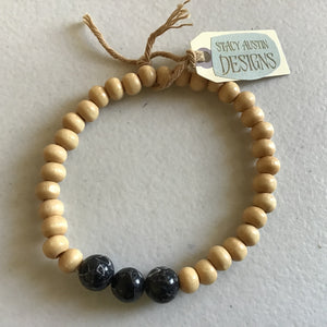 Tan wooden bead bracelet