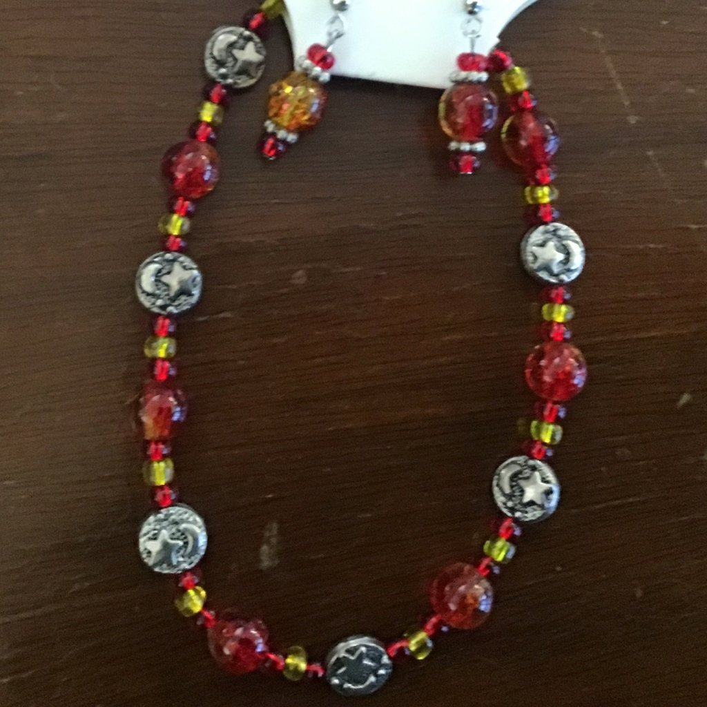 Beaded bracelet and earring set with silver star beads