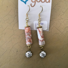 Cylinder stone dangle earrings with crystal accent