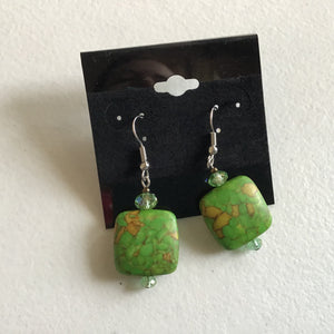 Green square dangle earrings
